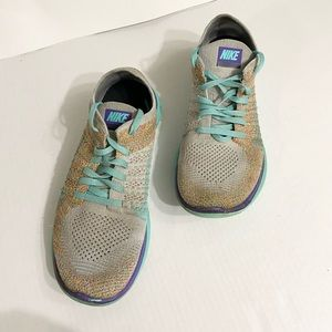 NIKE FREE 4.0 FLYKNIT ID MULTI-COLOR TEAL size 8.5